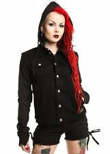 Vixxsin by Poizen Hunted jacket Goth Zip off Sleeves Denim goth punk XL UK 14