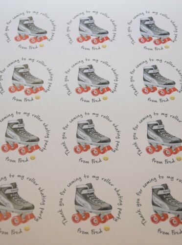 Personalised Roller Skate Birthday Party round stickers labels party cone sheet