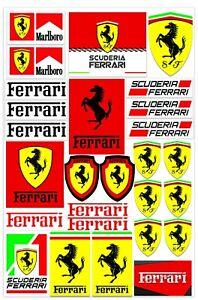 Set-27-PVC-Vinyle-Autocollants-Ferrari-Scuderia-Stickers-Voiture-F1-Moto-Auto