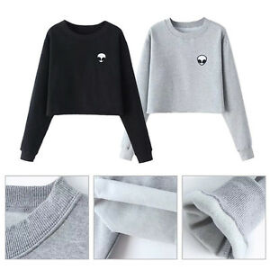 Damen Schulterfrei Langarm Pulli Tops Bluse Hoodie Pullover Sweatshirt Sweater