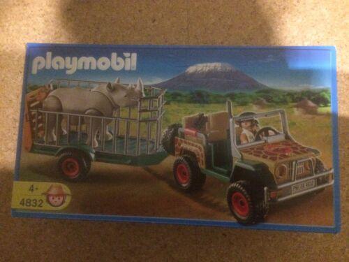Playmobil 4832 Geländewagen Ranger Rangerfahrzeug mit Nashorn Anhänger Jäger