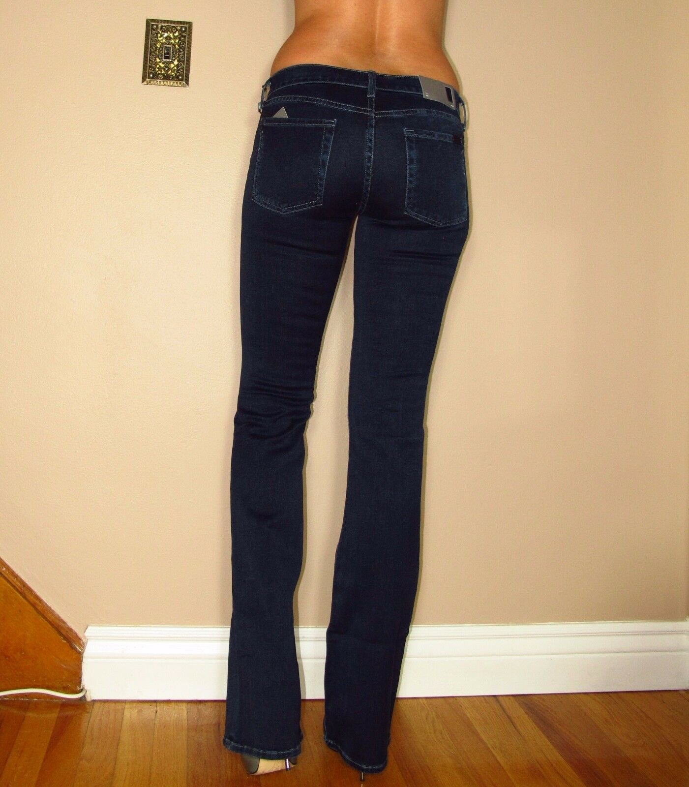 Seven 7 For All Mankind  Skinny Slim Bootcut Gummy Jeans Dark Rich Sateen 25