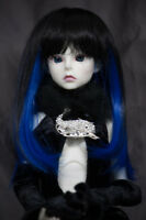 Doll Wig Straight Natural Black Fade Blue Bjd Ball Jointed Doll Size 6-7 8-9