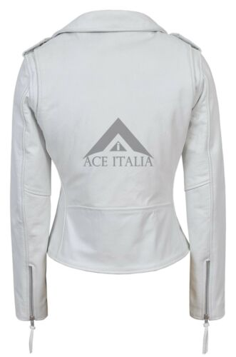 /'CLASSIC BRANDO/' Ladies White Biker Style Motorcycle Cruiser Hide Leather Jacket