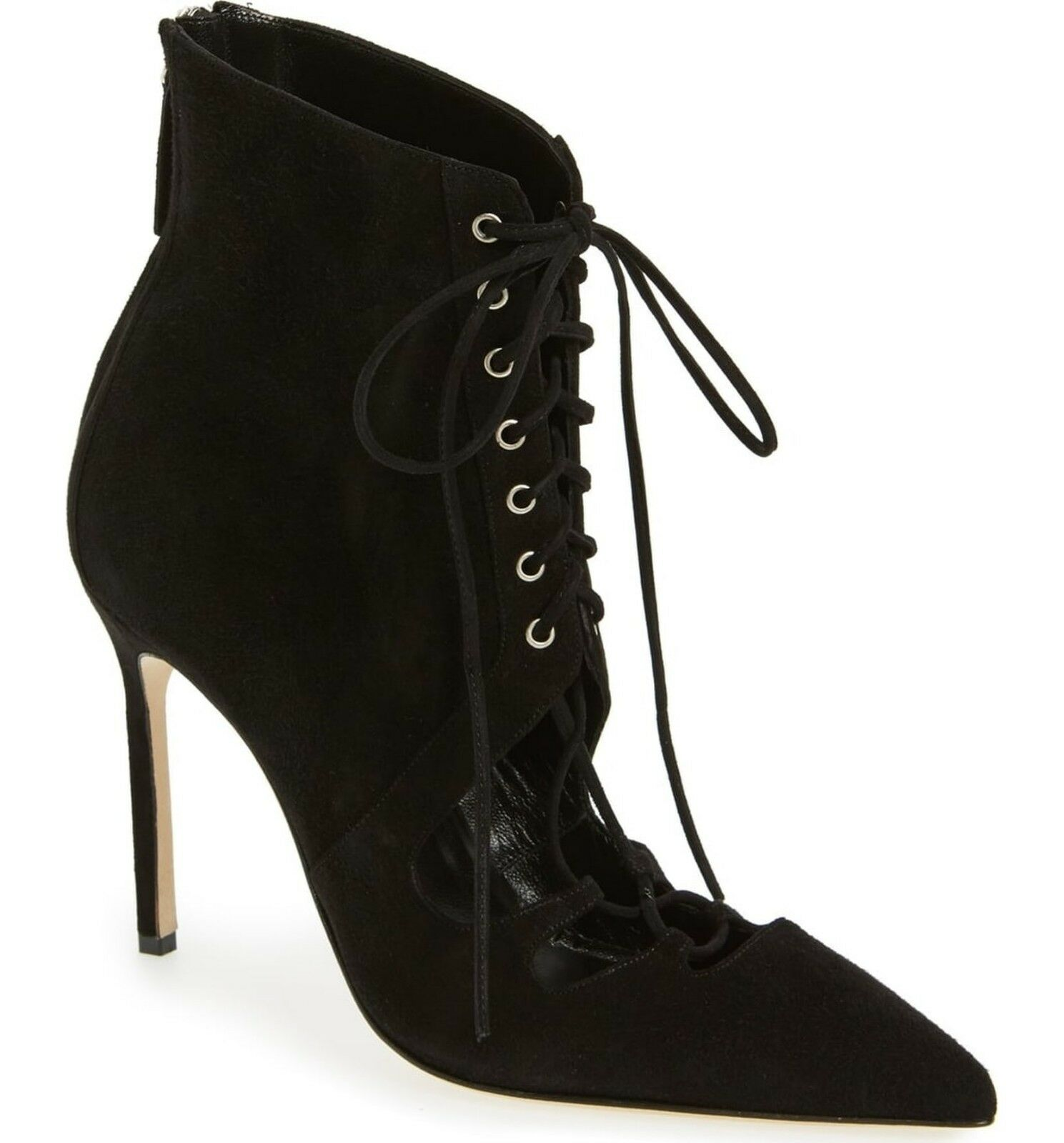 1245 MANOLO MANOLO MANOLO BLAHNIK Lace Up Boots GRACO Cut Out Black Suede Ankle Booties 38.5 1d2ef7