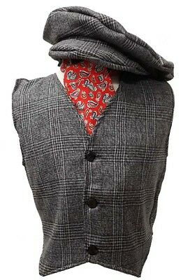 St Davids Day-Wales-Leary-Poppins WELSH BOY Edwardian Grey 3 Piece Waistcoat Set