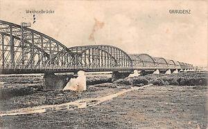 Ehemalige Dt. Gebiete Ansichtskarten Grudziądz Weichselbrücke Postkarte 1913 Produkte HeißEr Verkauf Graudenz