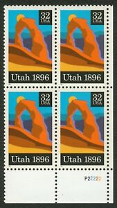 3024-32c-Utah-Statehood-Plate-Block-P22222-LR-Mint-ANY-4-FREE-SHIPPING