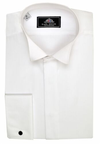 Rael Brook Mens Formal Plain Wing Collar Double Cuff Dress Shirt in White