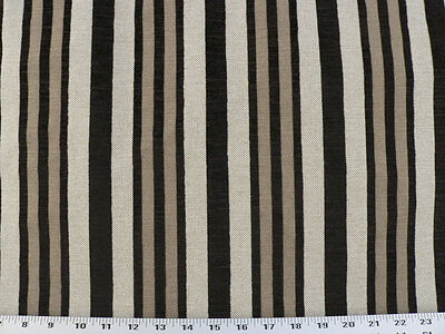 Drapery Upholstery Fabric Rustic Flocked Velvet Burlap-Look Stripe - Ebony