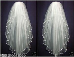 New-White-ivory-2-layers-Wedding-Bridal-veil-elbow-Length-Satin-Edge-with-comb