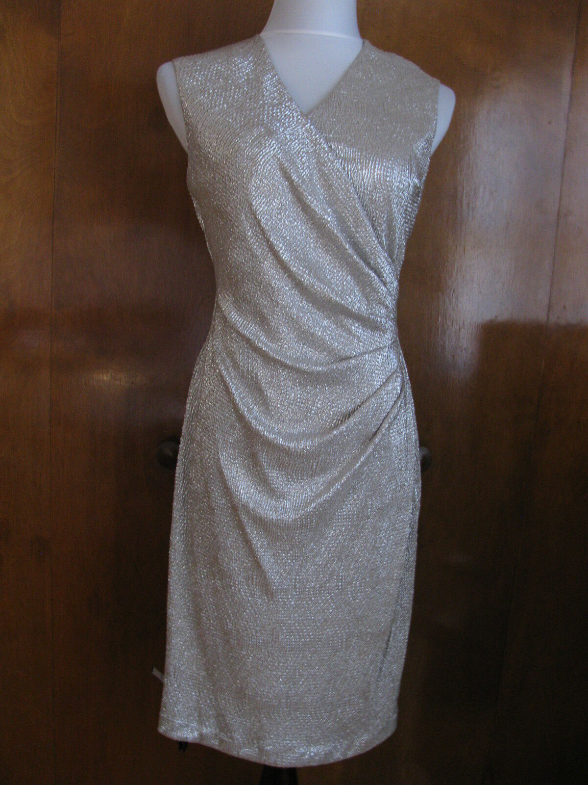 Ralph Lauren Women's White gold Detailed Lined Evening Evening Evening NWT Dress 6 8 10 12 14 16 79c976