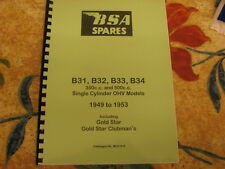 BSA B31 B33 GOLD STAR MODELS PARTS BOOK MANUAL 1949-53 MC574-3 - BP41