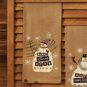 Image Is Loading Hang A Shining Star Christmas Snowman Embroidered Lique