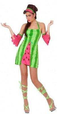 Ladies Watermelon Fruit Food Summer Tropical Hen Do Fancy Dress Costume Outfit