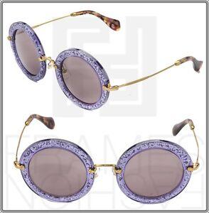 059269b846 MIU MIU NOIR MU13NS Round Violet Glitter Lilac Gold Sunglasses TKC ...