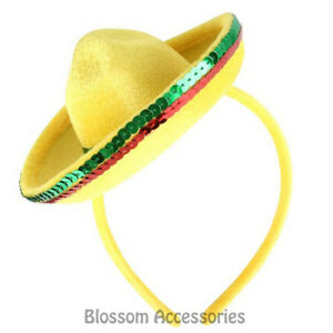 A822-Yellow-Mini-Mexican-Hat-on-Headband-Fiesta-Party-Costume-Spanish-Sombrero