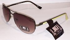 New JLO by Jennifer Lopez Womans Sunglasses Metal Half Frame, Yellow Arms, Pouch