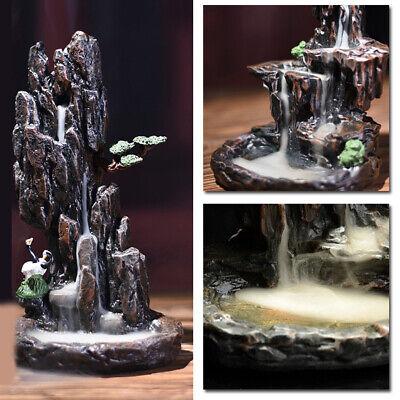 Resin Mountain Smoke Waterfall Back-flow Incense Burner Censer Holder Decor New