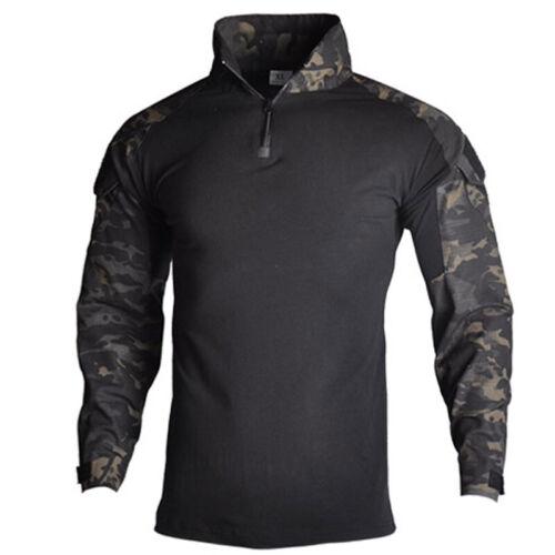 Men Soldier T-Shirt Airsoft Tactical Combat Shirt Pullover Combat Hiking Outdoor