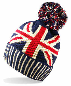 b2380be1d08 Union Jack Bobble Beanie Hat Unisex Men Women Flag Knitted Wooley ...