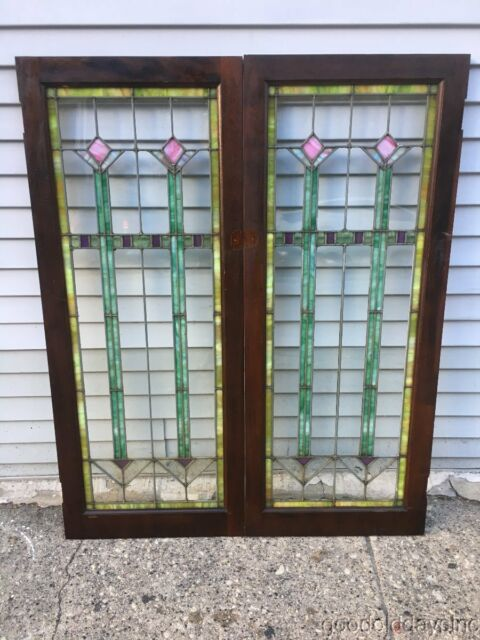 Pair of Antique Art Deco Stained Leaded Glass Bookcase Doors from Chicago - Pair Of Antique Art Deco Stained Leaded Glass Bookcase Doors From