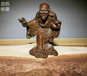 Old Antique Tea Pet Pure Solid Copper Arhat kanakavatsa handwork chinese Statue