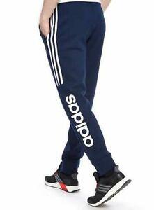 Details about Adidas Originals Mens Linear Fleece Jogging Bottoms Blue 3  Stripes Cuffed Pants