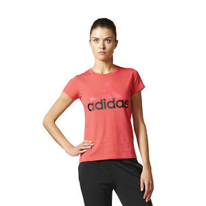 8fa3a627 adidas Womens Pure Cotton Linear Logo Short Sleeve T-Shirt Gym Top ...