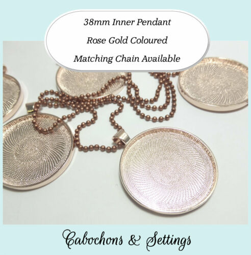 25 Pendant 38mm Bezel NEW ROSE GOLD nickel /& lead free Glass Chain NOT Included