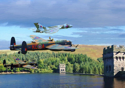 Vulcan & Lancasters Quality First Raf Centenary Commemorative Art limited Edition - 25
