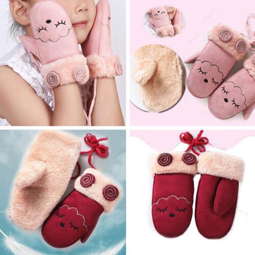 Girls Cute Warm Gloves Winter Knitted Fur Plush Eyelash Print Christmas Gifts