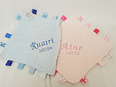 PERSONALISED BABY TAGGY TAGGIE BLANKET COMFORTER BOY GIRL GIFT TAG SOFT PINKBLUE