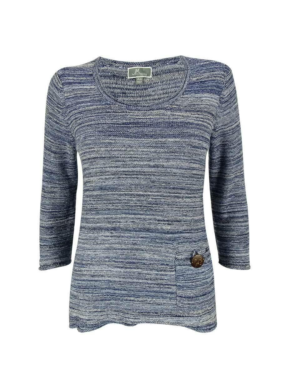 JM Collection Women's 3 4 Sleeve Metallic Marled Sweater (PS, bluee Marl)