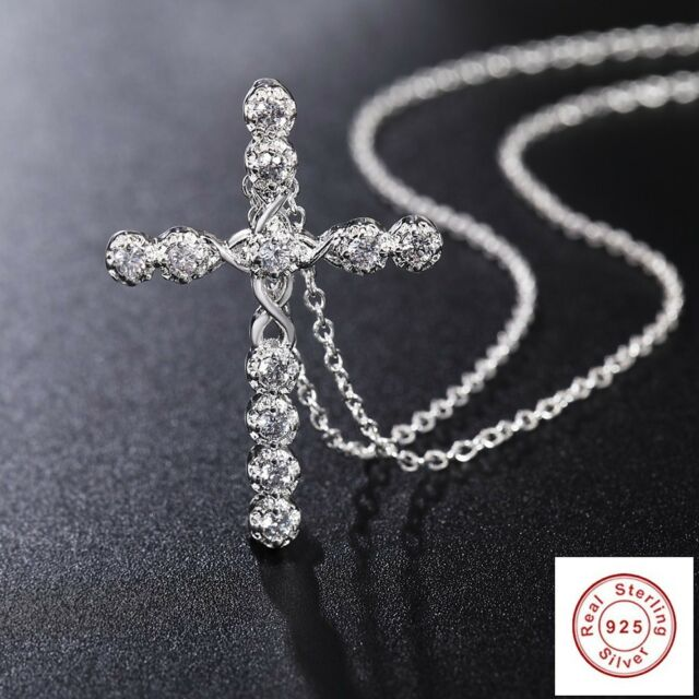 Crystal Cross Pendant Necklace 925 Sterling Silver Chain Women Lady Rosary Jesus