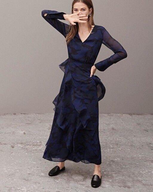 NWT BANANA REPUBLIC Camo Print Bias Ruffle Midi Dress L Maxi NAVY Blau 14
