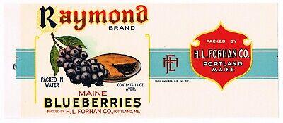 HERRICK/'S Brand Maine Blueberries *AN ORIGINAL 1930's TIN CAN LABEL* P01