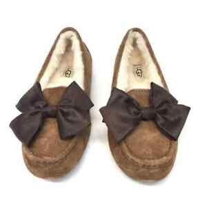 812ad1334a7 Details about UGG Austrilia Clara Glam Bow Moccasins Slippers W/Chestnut