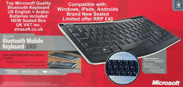 ee6464e6b2f Microsoft Bluetooth Keyboard Wireless ENGLISH US + ARABIC PC Apple Android  NEW