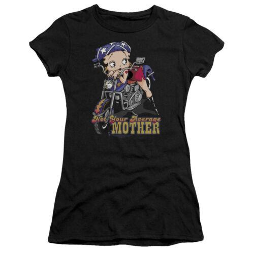 Betty Boop NOT YOUR AVERAGE MOTHER Biker Betty Juniors Cap Sleeve T-Shirt