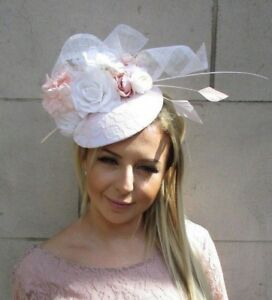 Image is loading White-Blush-Light-Pink-Flower-Feather-Hat-Fascinator- b5307db216c