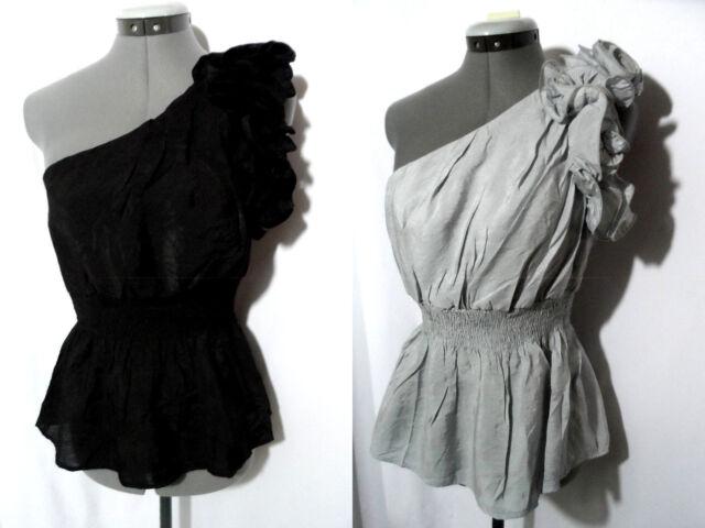 cd8ae5ffeb5de1 Nwt ICU Ruffle Rose One-shoulder Top womens SML Gray Black smocked peplum  Blouse