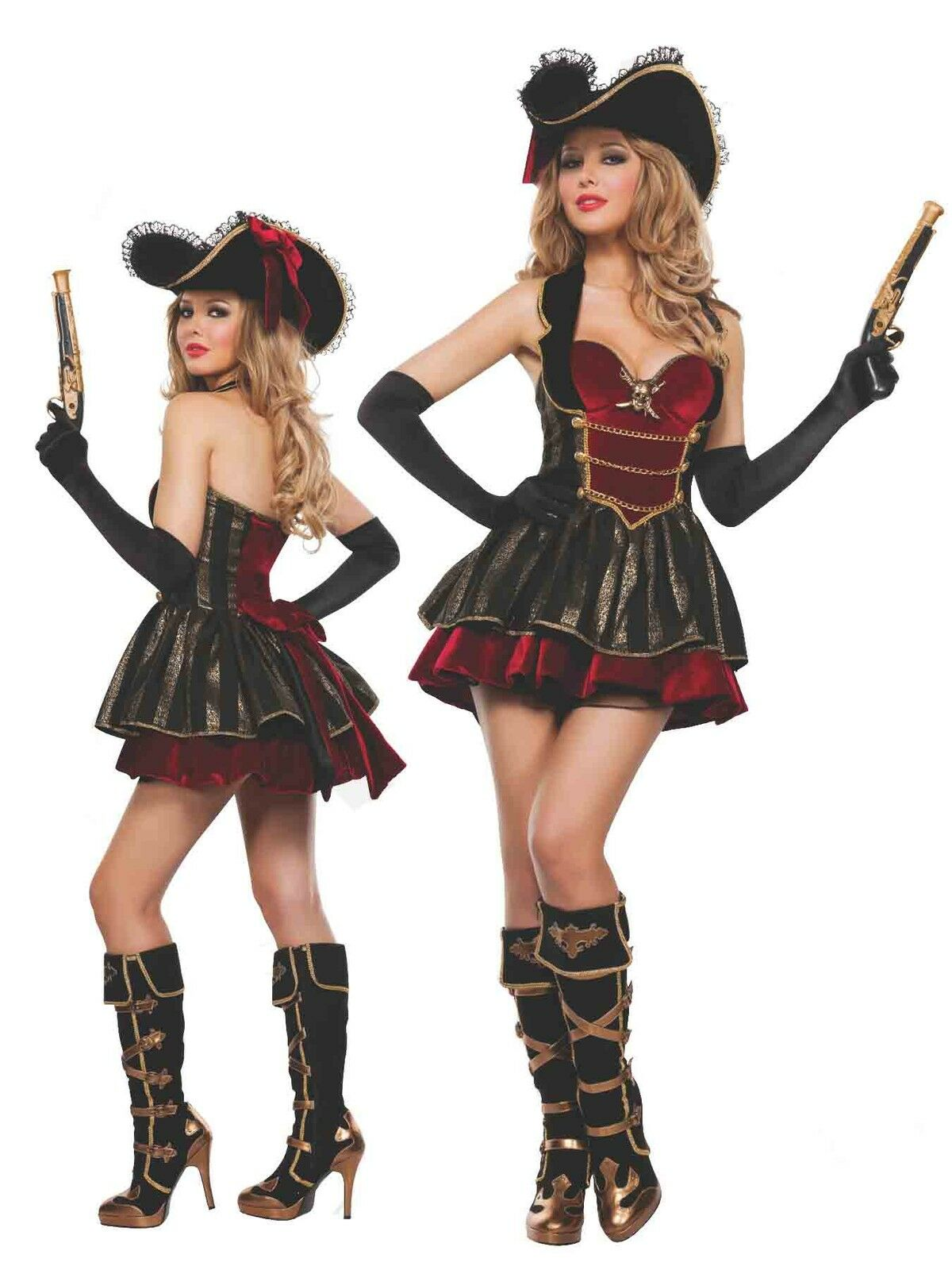 Pirates of the Caribbean - Women Caribbean Pirates Costume Wench Swashbuckler Halloween Cosplay Fancy Dress
