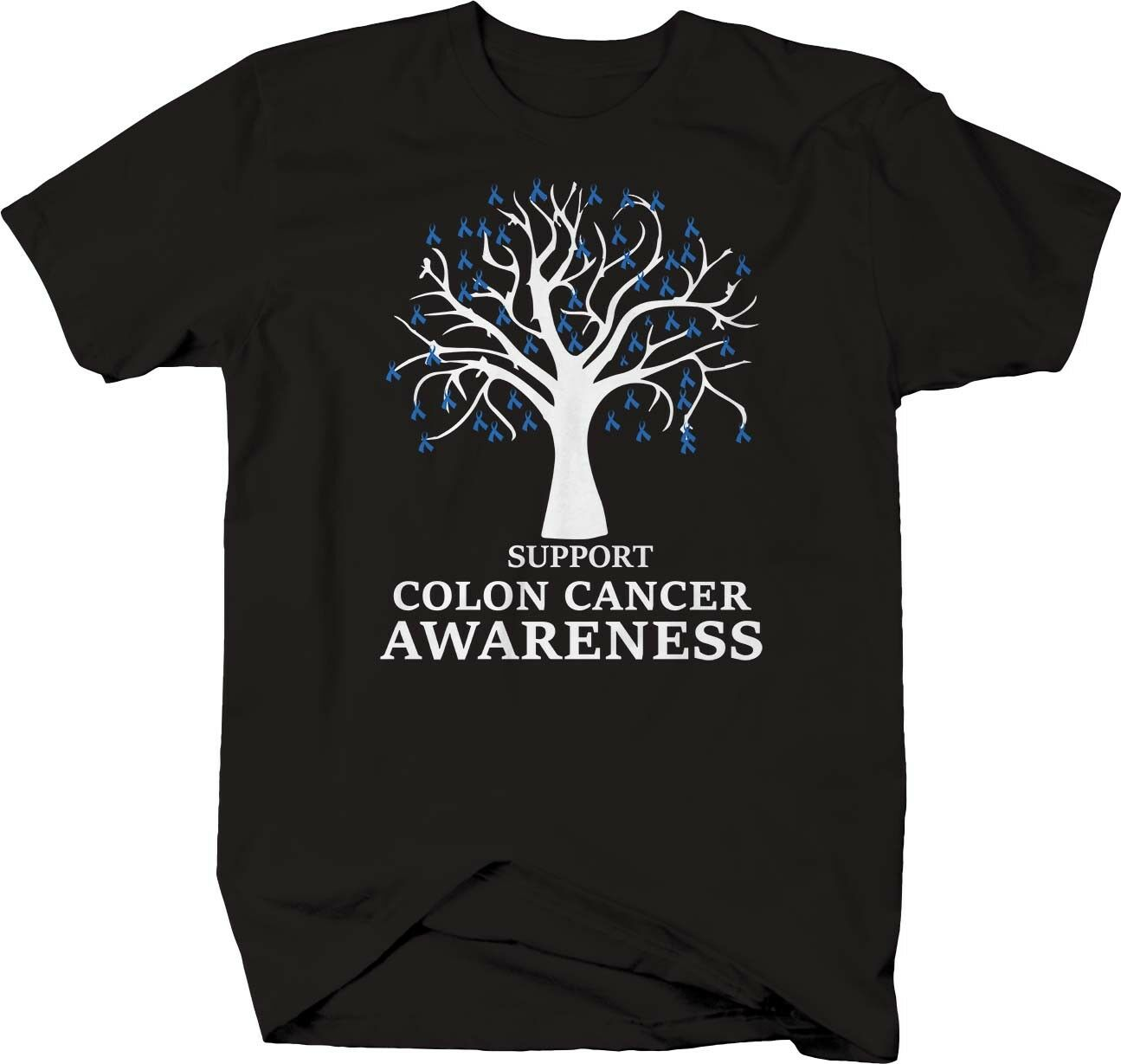 Fruit Of Loom Support Colon Cancer Awareness Tree Ribbon T Shirt