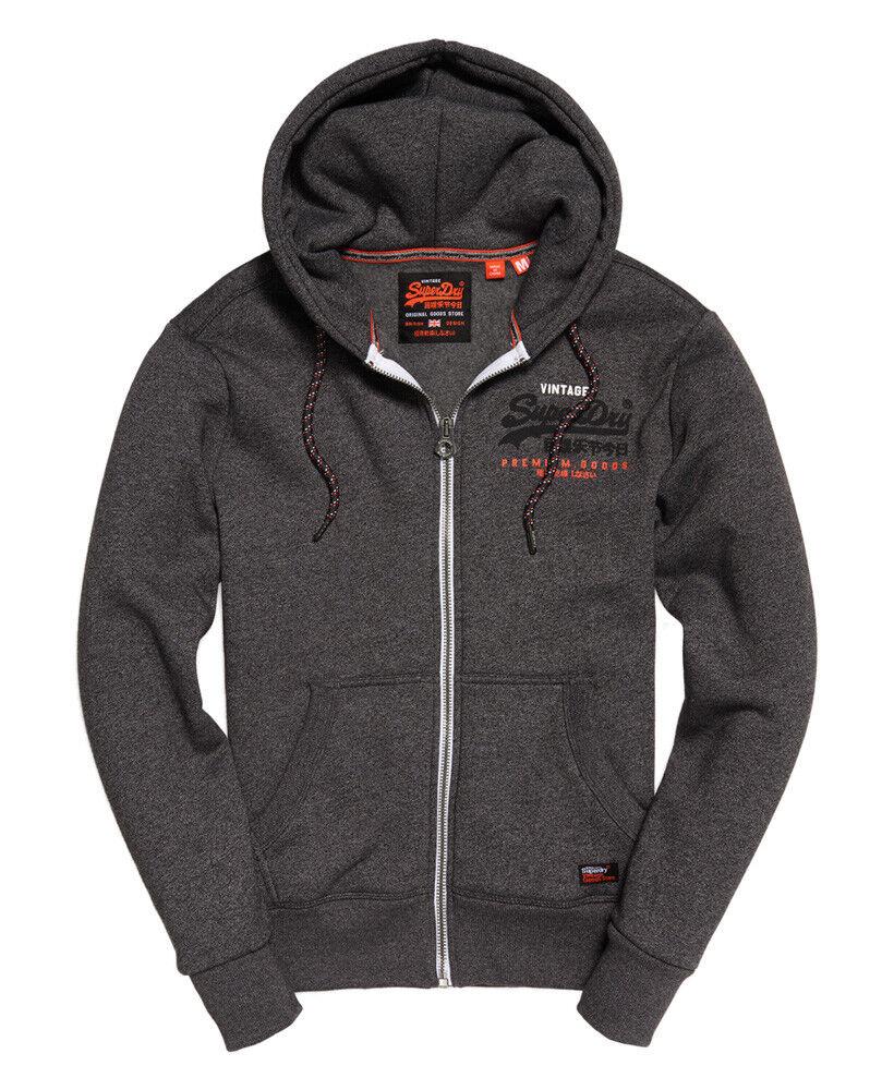 SUPERDRY Men's Premium Goods Racer ZipUp Hood Sweatshirt schwarz Grit Größes M-XXXL