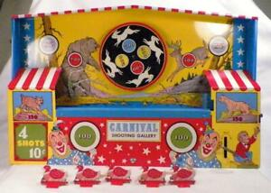 Ohio-Art-Carnival-Shooting-Gallery-Game-Mechanical-Tin-Toy-Works-Needs-String