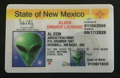 State of New Mexico novelty collectors card Drivers License UFO ALIEN