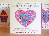 Heart birthday card special birthday female card personalised BIRTHDAY GIRL CARD