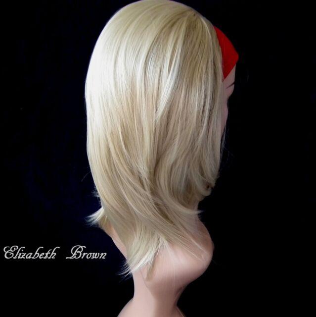 Süßes Lagen Blond Mix Med lange kurze Geraden 3/4 Perücke Bob Halb Perücke 006