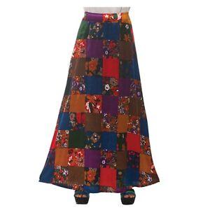 Women-039-s-70-039-s-Disco-Gypsy-Hippie-Patchwork-Floral-Halloween-Costume-Skirt-Dress-L